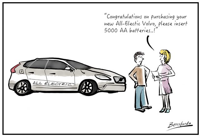 Cartoon about electric Volvos