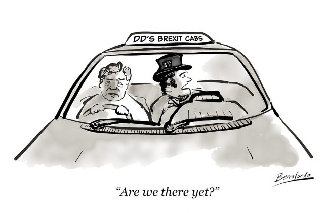 Cartoon shooting John Bull being driven by David Davis