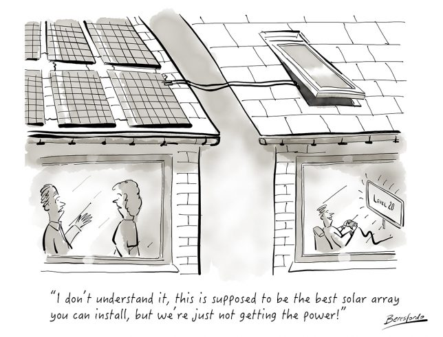 A cartoon showing someone cheekily stealing their neighbours solar power