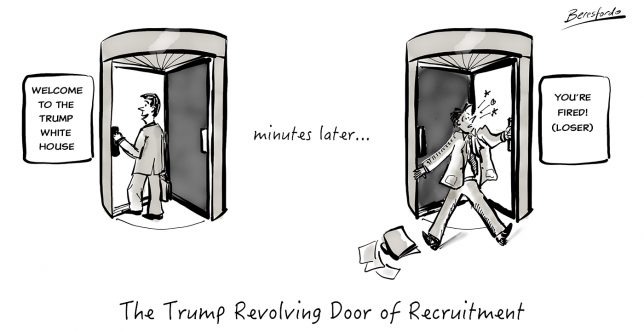 Cartoon about Trump's Recruitment Revolving Door