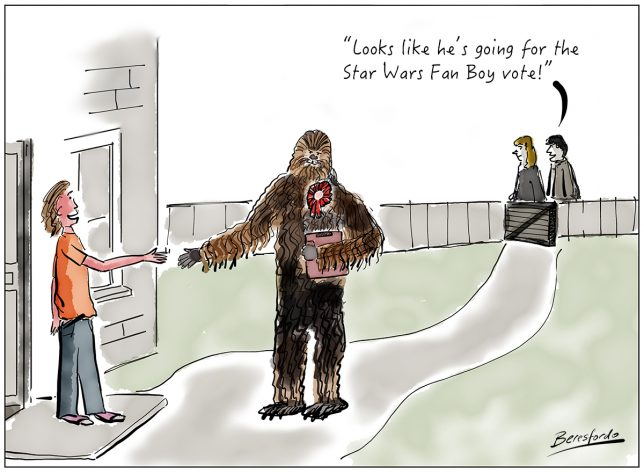 Politician canvassing for votes dressed as Chewbacca