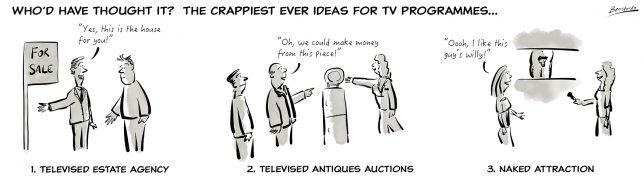 "Cartoon showing Televised Estate Agency, Televised auctions and the C4 show ""Naked Attraction"""