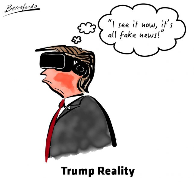 Trump wearing a VR headset and saying it's fake news