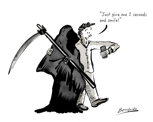 Cartoon showing a guy taking a selfie of the Grim Reaper