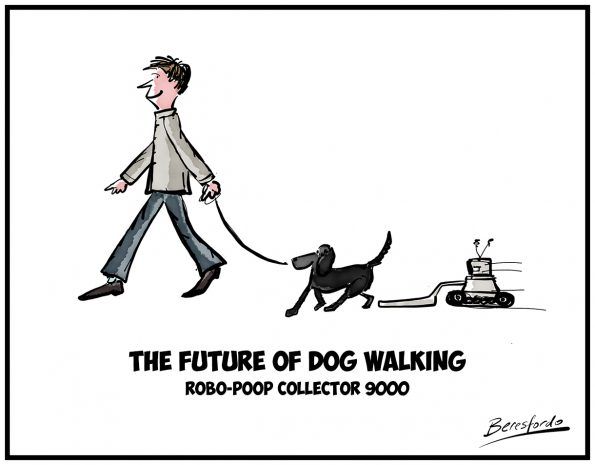 Cartoon showing a dog poop collecting robot following behind a dog walker