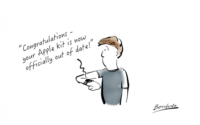 Cartoon showing Apple watch telling a guy his kit is out of date