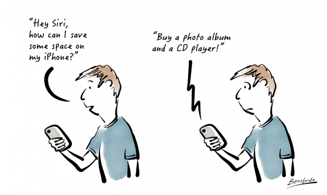 Cartoon about running out of storage on an iPhone