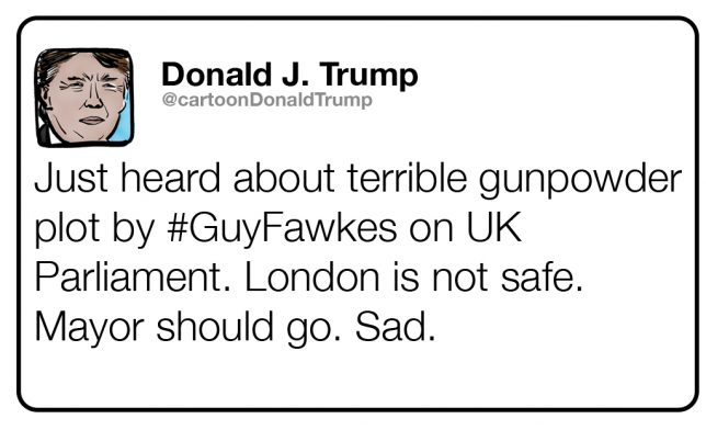 Fictional tweet from Trump about the Gunpowder Plot