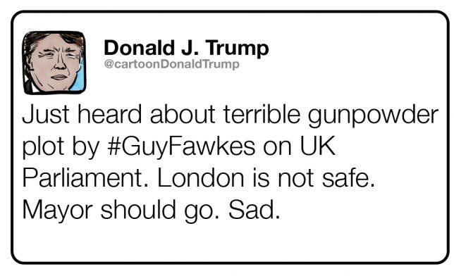 Fictional tweet from Trump about the Gunpowder Plot