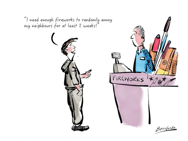 Cartoon about buying fireworks