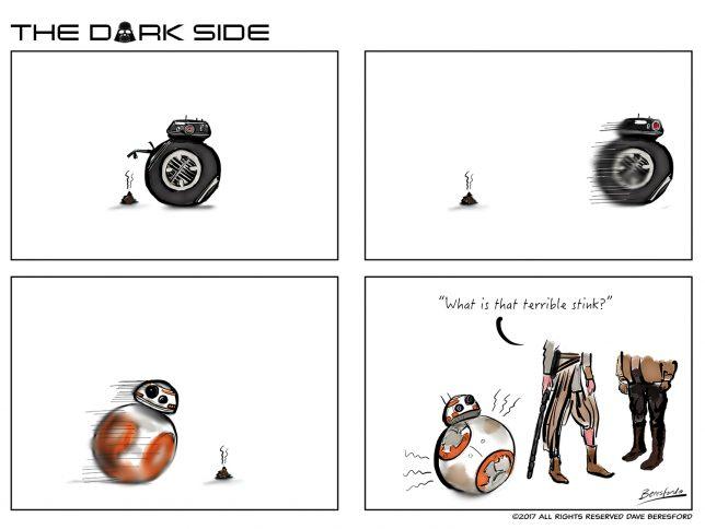 Strip cartoon where BB-8 runs over a turd left by BB9-E