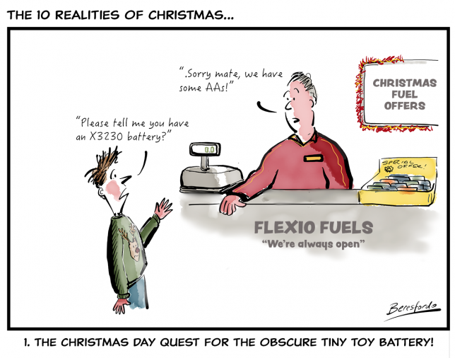 The 10 Realities of Christmas - number 1, looking for a stupid toy v=battery on Christmas Day