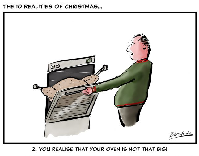 Cartoon showing a guy not able to get his turkey in the oven