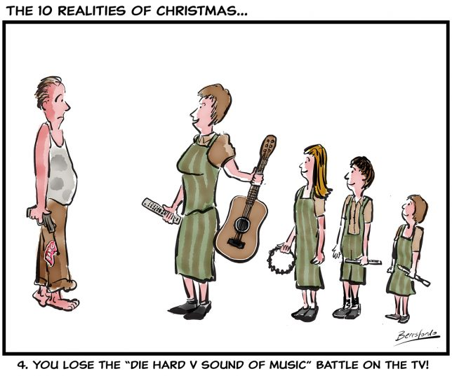 Cartoon about losing the battle for the TV at Christmas time!