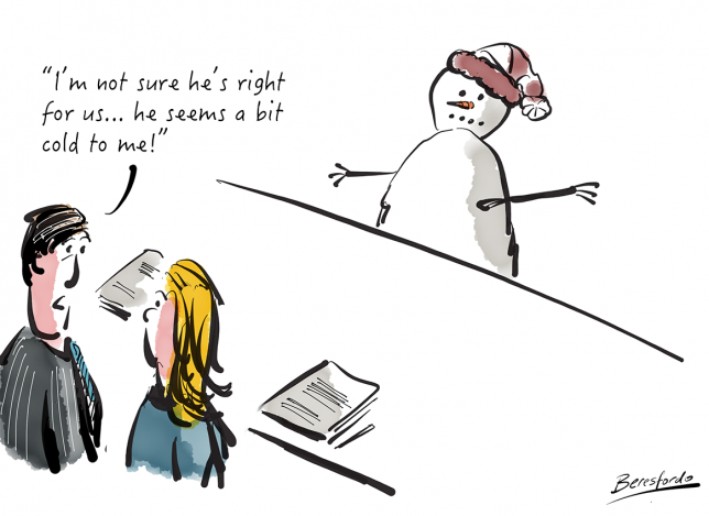 2 recruiters discussing a snowman applicant and deciding he's just a bit too cold!