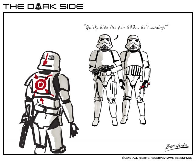 Cartoon about Storm Troopers drawing a target on each others backs