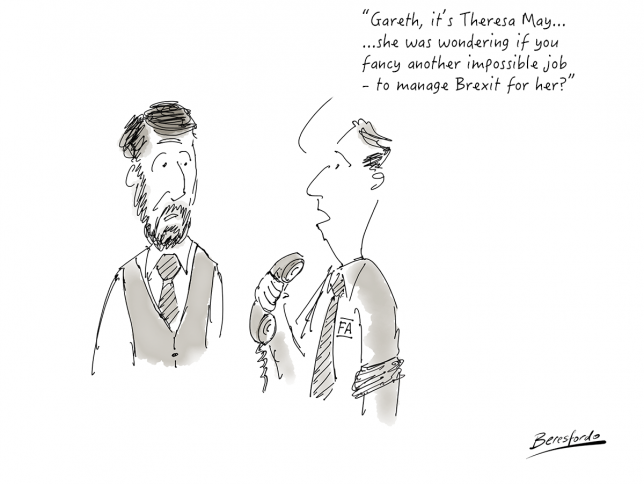 A cartoon showing Gareth Southgate being offered another impossible job - Brexit Minister!