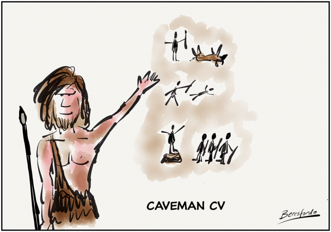 Caveman showing his CV on cave wall