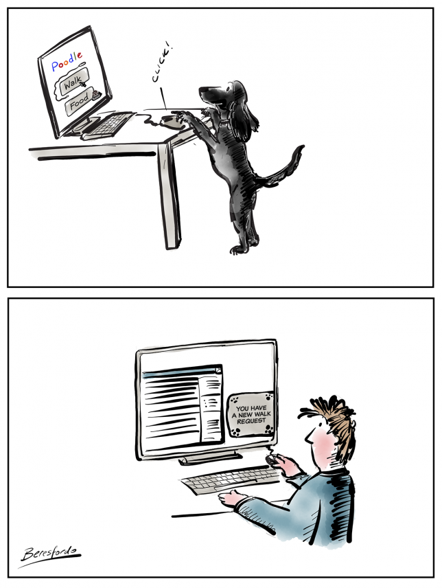 Cartoon showing a dog asking for a walk via a computer