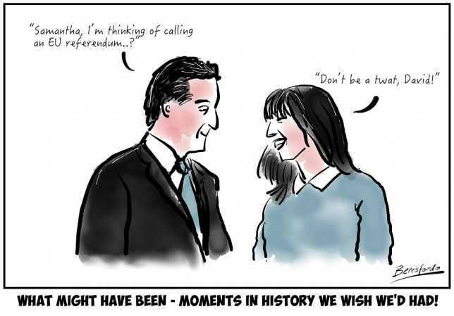 Cartoon showing David Cameron asking Samantha if the EU ref was a good idea