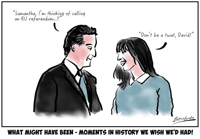 Cartoon showing David Cameron asking Samantha if the EU ref was a good idea