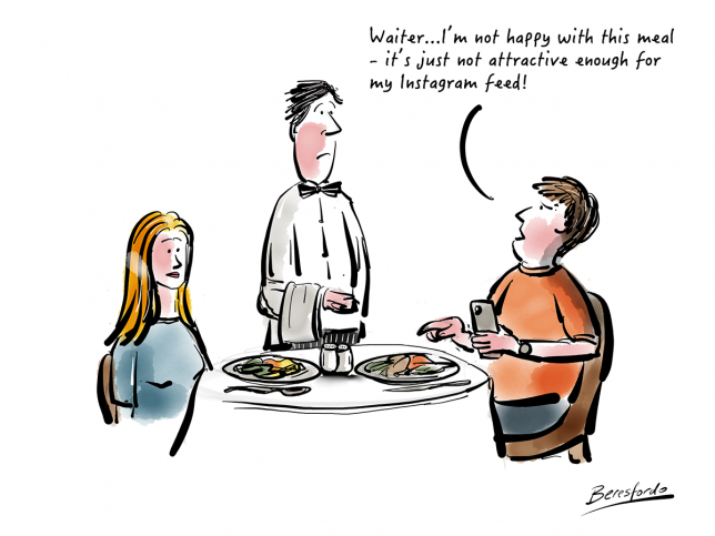 Cartoon about a meal not being attractive enough for my Instagram feed
