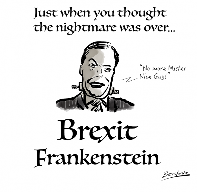 A cartoon showing Nigel Farage as Frankenstein's monster